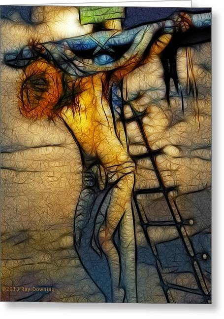 Christian Images Digital Greeting Cards - Crucifixion - Stained Glass Greeting Card by Ray Downing