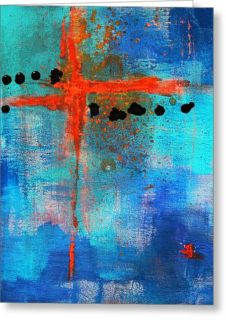 Repetition Paintings Greeting Cards - Cruciform Abstract Greeting Card by Nancy Merkle