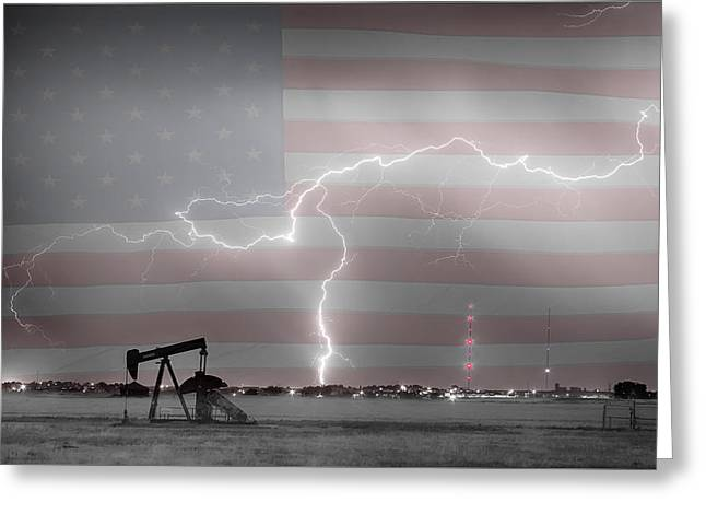 Storm Prints Photographs Greeting Cards - Crude Oil and Natural Gas Striking Across America BWSC HDR Greeting Card by James BO  Insogna