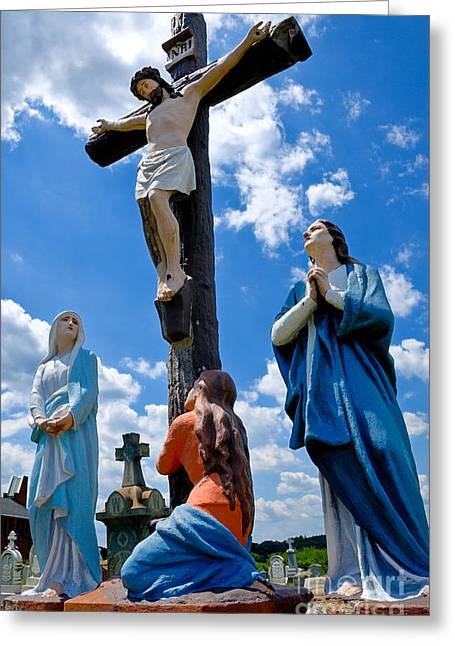 Crucifixion Greeting Cards - Cruficix statue at St Alphonsus Church Wexford  Greeting Card by Amy Cicconi