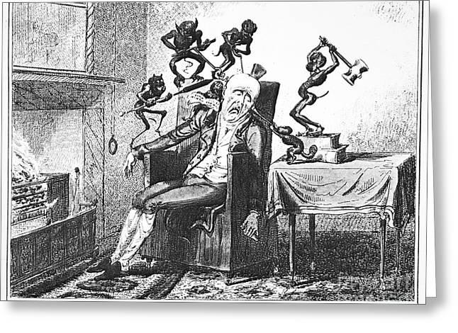 Cruikshank Greeting Cards - Cruikshank: Headache, 1819 Greeting Card by Granger