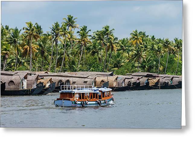 Cruise Boats In Backwaters, Kerala Greeting Card by Ali Kabas