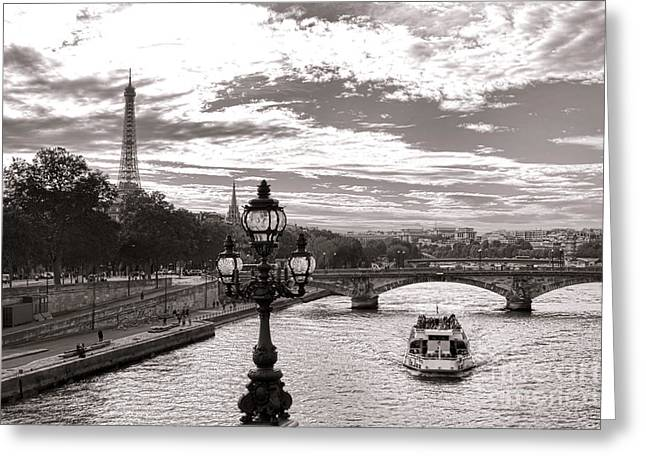 Street Lights Greeting Cards - Cruise on the Seine Greeting Card by Olivier Le Queinec