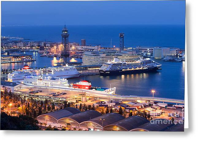 Cruise Terminal Greeting Cards - Cruise Port Terminal in Barcelona at Night Greeting Card by Artur Bogacki