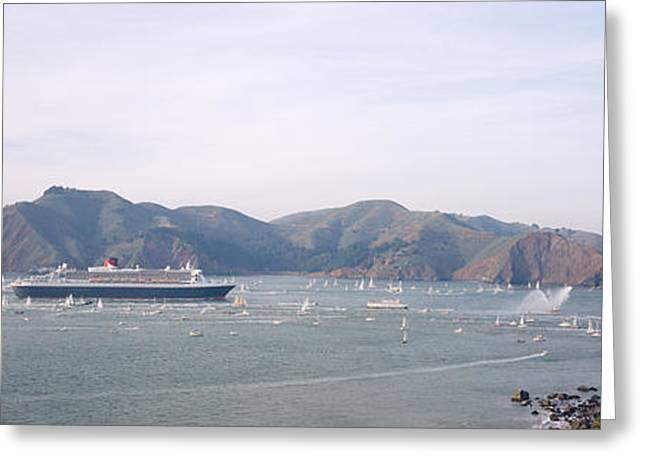 Sailboats In Water Greeting Cards - Cruise Ship Approaching A Suspension Greeting Card by Panoramic Images