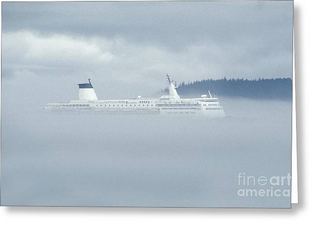 Boat Cruise Greeting Cards - Cruise Ship In Fog Greeting Card by Ron Sanford