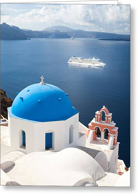 Greek Icon Greeting Cards - Cruise ship in Santorini - Greece Greeting Card by Matteo Colombo