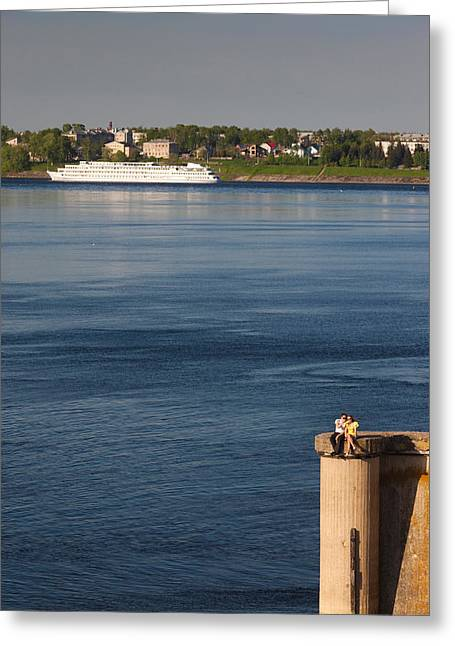 Cruise Ship Greeting Cards - Cruise Ship In Volga River, Uglich Greeting Card by Panoramic Images