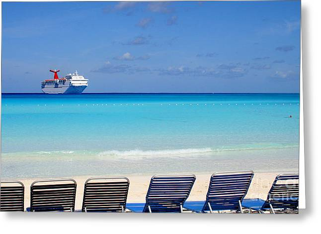 Lawn Chair Greeting Cards - Cruise Ship off Grand Turk Greeting Card by Heidi Hermes