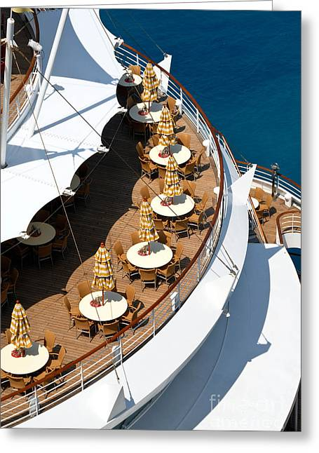 Boat Cruise Greeting Cards - Cruise Ship Symmetry Greeting Card by Amy Cicconi