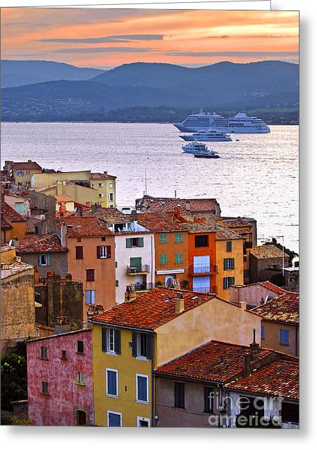 Rooftop Photographs Greeting Cards - Cruise ships at St.Tropez Greeting Card by Elena Elisseeva