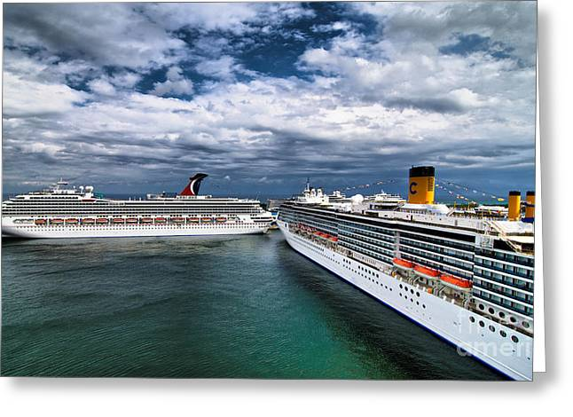 Ships Greeting Cards - Cruise Ships Port Everglades Florida Greeting Card by Amy Cicconi