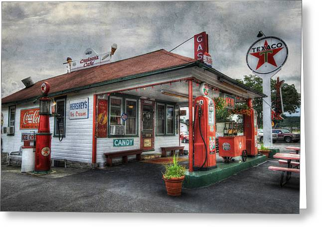 Texaco Sign Greeting Cards - Cruisers Cafe Greeting Card by Lori Deiter