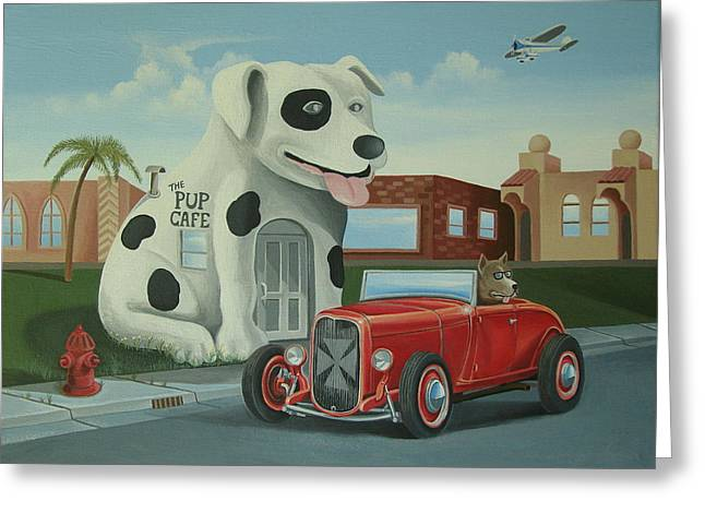 Cruisin' At The Pup Cafe Greeting Card by Stuart Swartz