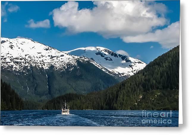 Haybale Greeting Cards - Cruising Alaska Greeting Card by Robert Bales