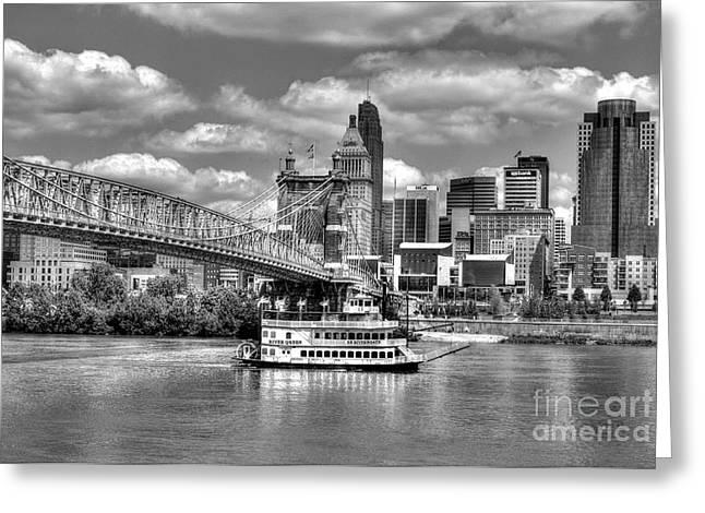 Steamboat Greeting Cards - Cruising By Cincinnati 3 BW Greeting Card by Mel Steinhauer