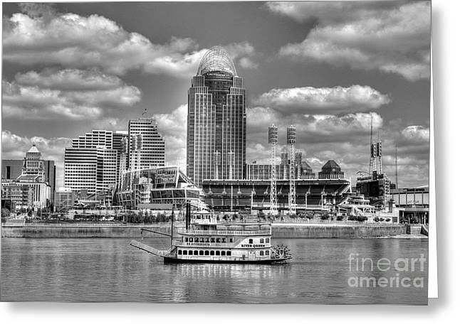 Steamboat Greeting Cards - Cruising By Cincinnati 4 BW Greeting Card by Mel Steinhauer
