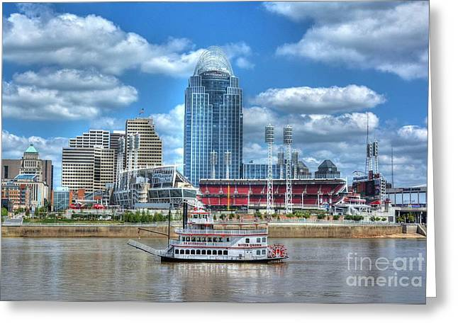Steamboat Greeting Cards - Cruising By Cincinnati 4 Greeting Card by Mel Steinhauer