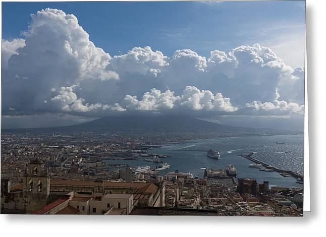 Ocean Vista Greeting Cards - Cruising Into the Port of Naples Italy Greeting Card by Georgia Mizuleva