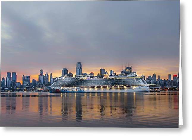 Boat Cruise Digital Greeting Cards - Cruising the Hudson at Dawn Greeting Card by Bill Cannon