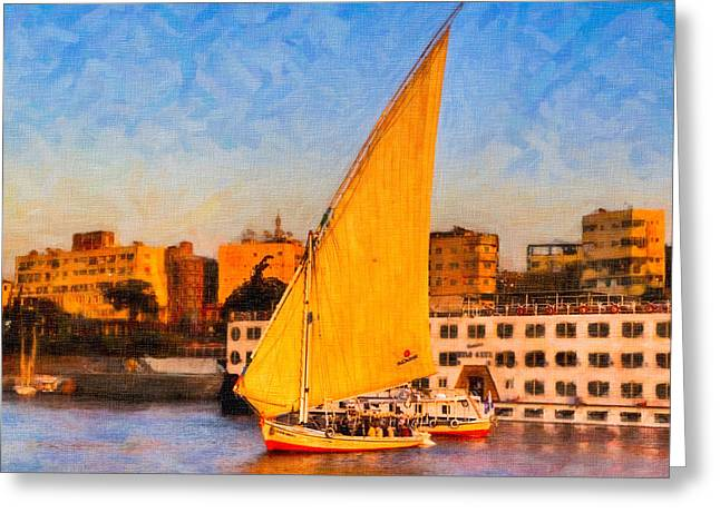 River Nile Greeting Cards - Cruising the Nile at Sunset in Aswan Egypt Greeting Card by Mark Tisdale