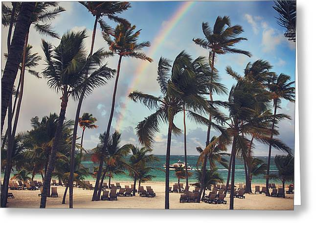 Caribbean Island Greeting Cards - Cruising Under the Rainbow Greeting Card by Laurie Search