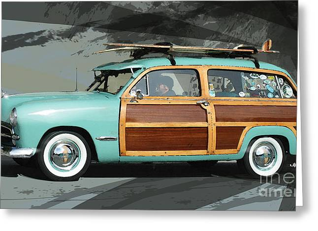 Classic Automobile Art Greeting Cards - Cruising Woody Greeting Card by Uli Gonzalez