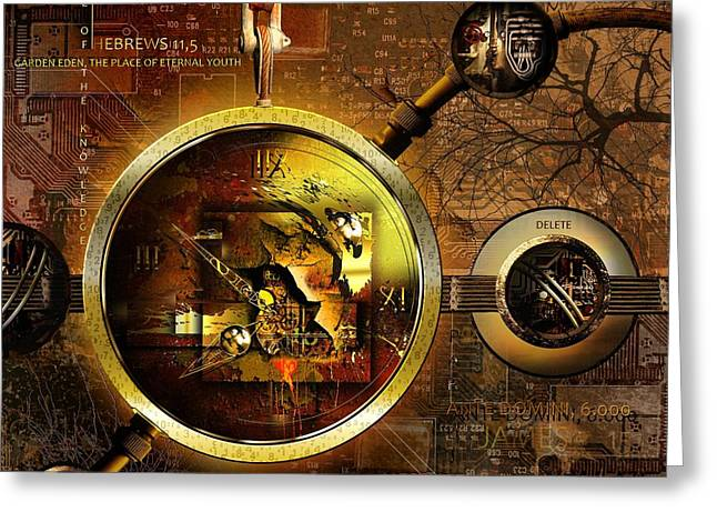 Clock Greeting Cards - Crumbling Authority Of The Truth Greeting Card by Franziskus Pfleghart