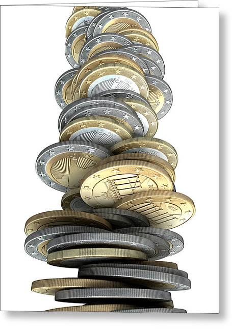 Financial Crisis Greeting Cards - Crumbling Coins Greeting Card by Allan Swart
