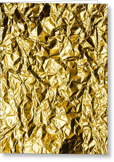 Metallic Sheets Greeting Cards - Crumpled Gold Foil Greeting Card by Alain De Maximy