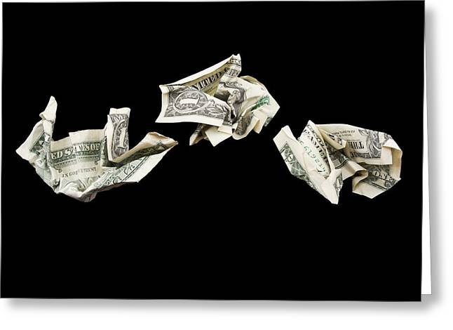 Value Greeting Cards - Crumpled one Dollar Bills Greeting Card by Keith Webber Jr