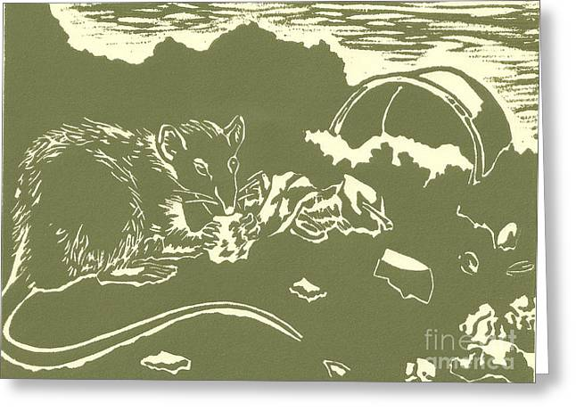 Linoleum Block Print Reliefs Greeting Cards - Crunchy Greeting Card by Liz Llewellyn