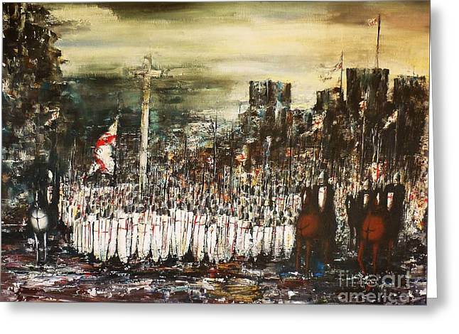 Recently Sold -  - Knights Castle Greeting Cards - Crusade Greeting Card by Kaye Miller-Dewing