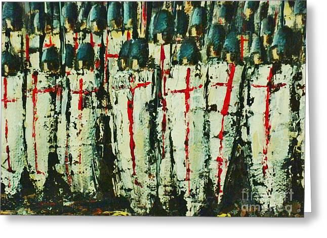 Medieval Temple Paintings Greeting Cards - Crusade Shields 3. Greeting Card by Kaye Miller-Dewing