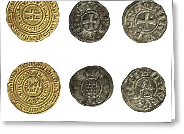 Crusader Kingdom Of Jerusalem Coins Greeting Card by Photostock-israel