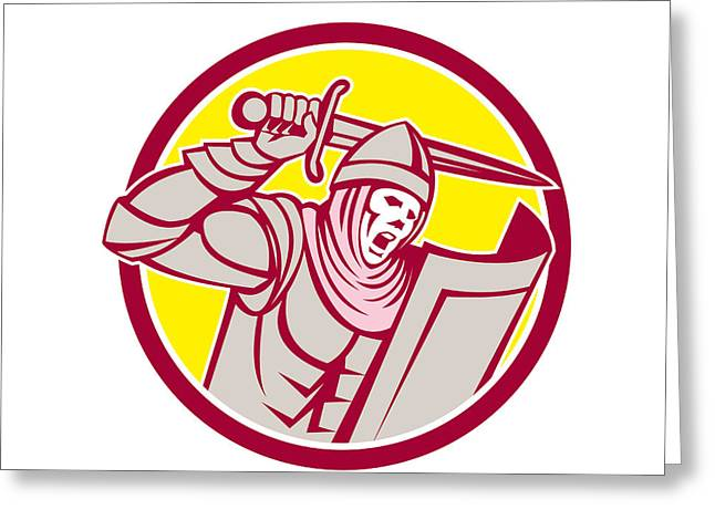 Brandishing Greeting Cards - Crusader Knight With Sword and Shield Circle Retro Greeting Card by Aloysius Patrimonio