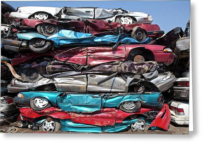 Crushed Cars At Scrapyard Greeting Card by Jim West