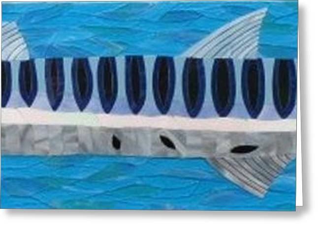 Sea Life Glass Greeting Cards - Crusin Like A Cuda Greeting Card by Charles McDonell