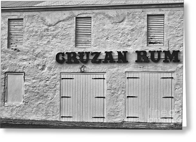 Fineartprint Greeting Cards - Cruzan Rum Building in Black and White Greeting Card by Iris Richardson