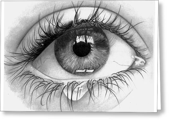 Hyperrealism Drawings Greeting Cards - Cry Greeting Card by Barbara Bright