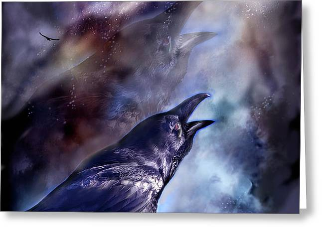 Cry Of The Raven Greeting Card by Carol Cavalaris