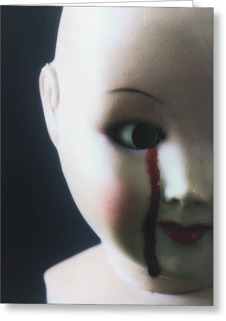 Child Toy Greeting Cards - Crying Blood Greeting Card by Joana Kruse