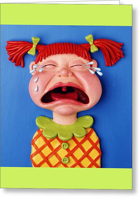 Clay Sculpture Greeting Cards - Crying Girl Greeting Card by Amy Vangsgard