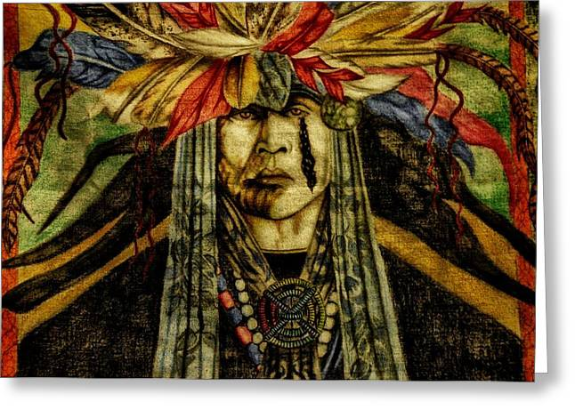 Confidence Mixed Media Greeting Cards - Crying Indian Greeting Card by Todd and candice Dailey