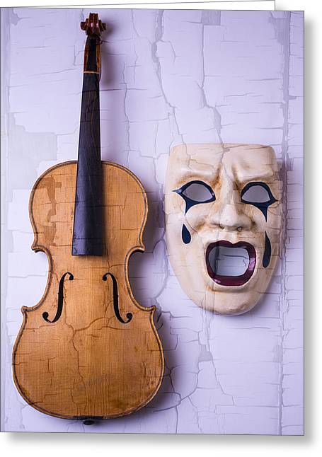 Cracked Photographs Greeting Cards - Crying Mask With Violin Greeting Card by Garry Gay