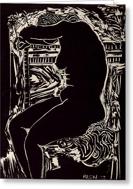 Linoleum Greeting Cards - Crying Nude With Flower Greeting Card by Alon Shepherd