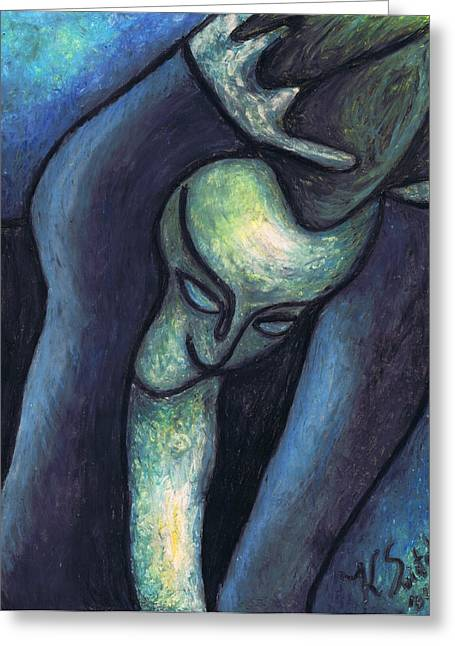 Sadness Pastels Greeting Cards - Crying Woman Greeting Card by Kamil Swiatek