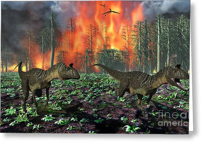 Fire In The Wood Greeting Cards - Cryolophosaurus Dinosaurs Fleeing Greeting Card by Mark Stevenson