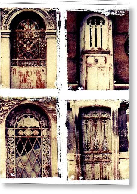 Crypt Doors Greeting Card by Jane Linders