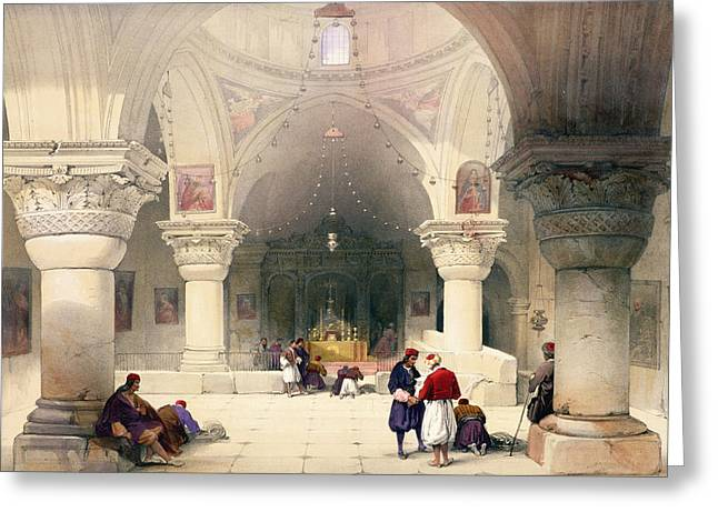 Crypt Of The Holy Sepulchre Greeting Card by David Roberts